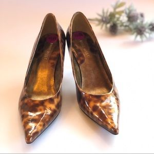 Patent Leather Leopard Print Pointed Toe Pumps